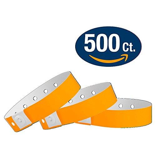 WristCo Neon Orange Plastic Wristbands - 500 Pack Wristbands For Events