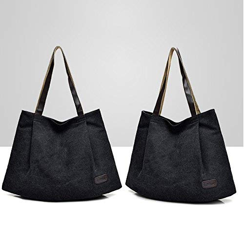 for Zipper Large Shopping with Bag Home Travel Handbag Bag Tote Shoulder Bag School Bag Shoulder Purse Canvas Holiday Black Beach Reinforced Bag with Office Strap Lady fP1vq