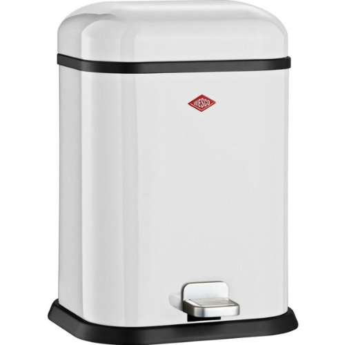 Wesco Single Boy-German Designed-Step Trash Can, Powder Coated Steel, 3.4 Gallon / 13 L, White