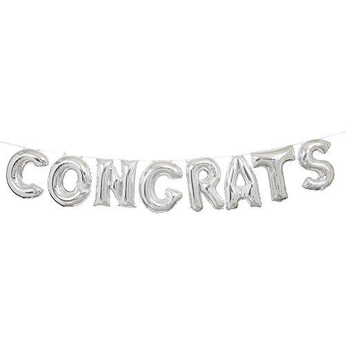 Foil Silver Congrats Letter Balloon Banner (Congrats Banner)