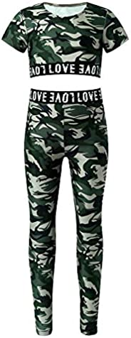 YOOJIA Kids Girls Full Legth Leggings and Crop Tops Set Summer Workout Dance Gymnastics Tracksuit Outfits