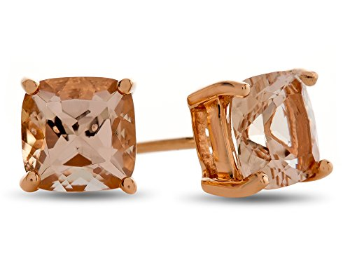 LALI Classics 14kt Rose Gold Morganite Cushion Earrings