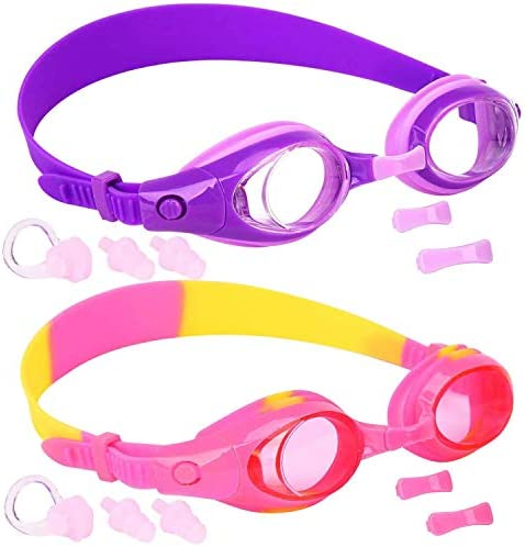 Kids Swim Goggles, Pack of two, Swimming Glasses for Children and Early Teens from 3 to fifteen Years Old, Clear Vision, Anti-Fog, Waterproof, UV Protection