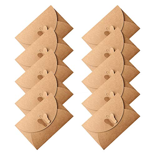 pengxiaomei 50 Pcs Mini Card Envelopes, Gift Card Kraft Paper Envelopes Holders Cute Post Card Butterfly Clasp for Birthday Christmas