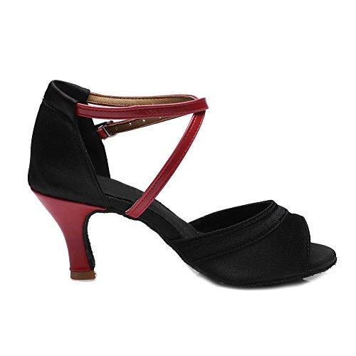 HROYL Mujer Zapatos de Baile Latino Satén Salón de Baile 221 Rojo
