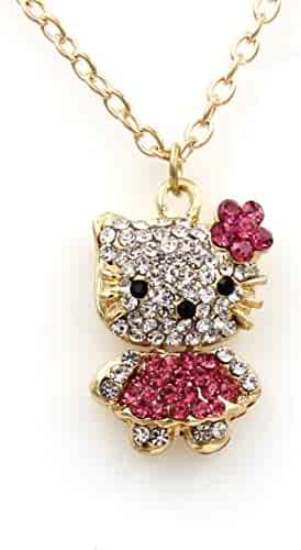 1db1ffa8d Sweet Crystal Hello Kitty Sweater Chain with Swarovski Austrian Elements  Crystal Pendant Necklace Fashion Jewelry for
