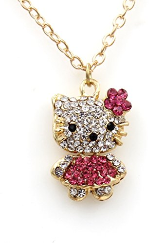 Sweet Crystal Hello Kitty Sweater Chain with Swarovski Austrian Elements Crystal Pendant Necklace Fashion Jewelry for Girls Bling - Hello Kitty Sweets