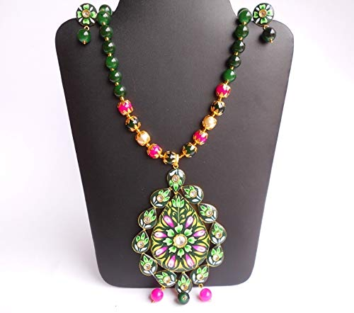Ethnic BIG Traditional Handpainted Pendant Green Glass Stone Necklace N0709/_25