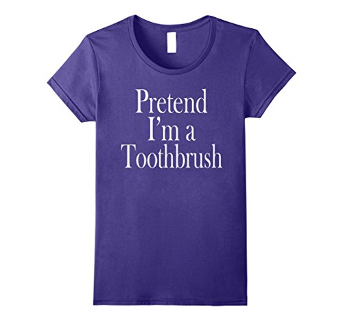 Womens Toothbrush Costume T-Shirt for the Last Minute Party Large Purple