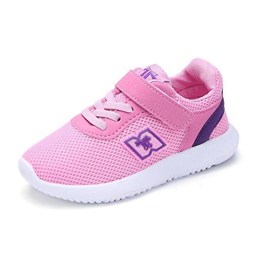 BTDREAM Boy and Girl's Breathable Fashion Sneakers Athletic Outdoor Sports Running Shoes Pink Size 26 by BTDREAM