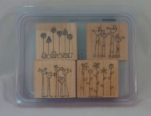 Stampin' Up! SIMPLE SOMETHINGS Set of 4 Decorative Rubber Stamps Retired (Retired Rubber)