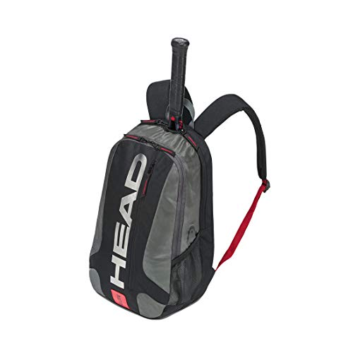 HEAD Elite Tennis Backpack - 2 Racquet Carrying Bag w/Padded Shoulder Straps & Shoe Compartment, Black/Red, LxWxH 12.5 x 19.5 x 7.5 in