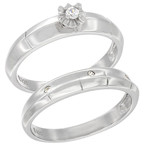 Sterling Silver Cubic Zirconia Ladies' Engagement Ring Set 2-Piece Ribbed Design, 5/32 inch wide, size 10
