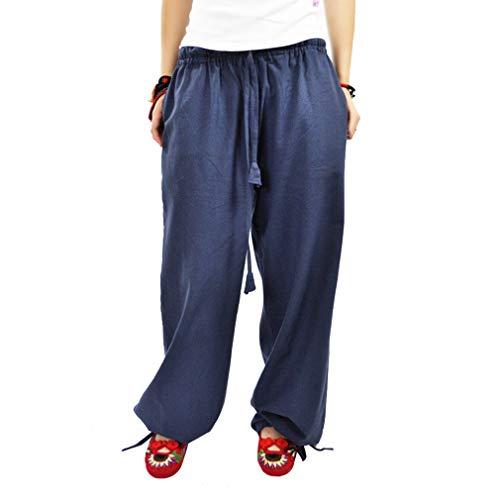 Gamba Larghi Pantaloni Pantaloni con Mode Donna Pantaloni 1 Solido Elegante Casuale Larga L a Cordoncino Media M Vita Blu Colore 8EqwZwxY