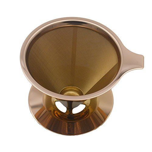 YUESHICO Cone Coffee Double layer Mesh Filter Reusable Coffee Dripper Pour Over with Stand Holder Cafe Tool (Copper Coating) by YUESHICO