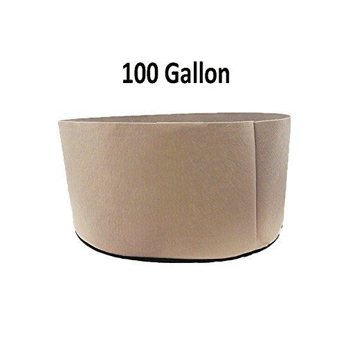 TopoGrow 12 Pack 100 Gallon Grow Bags Tan Fabric Round Aeration Pots Container for Nursery Garden and Planting Grow (100 Gallon, Tan)