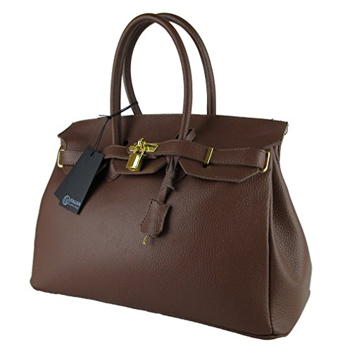BORSA DA DONNA VERA PELLE MADE IN ITALY FG BIRK MARRONE