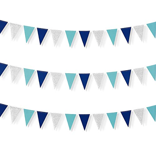 - Little Biene 30 Feet Nautical Glitter Paper Triangle Flag,Bunting Pennant Banner for Baby Birthday Shower/Ahoy/Achor/Pirate Theme Party Supplies Decorations(Blue and Silver).