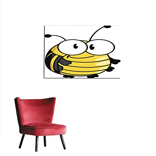 homehot Poster Wall Decor Happy Smiling Fat Little Bumble bee Mural 24