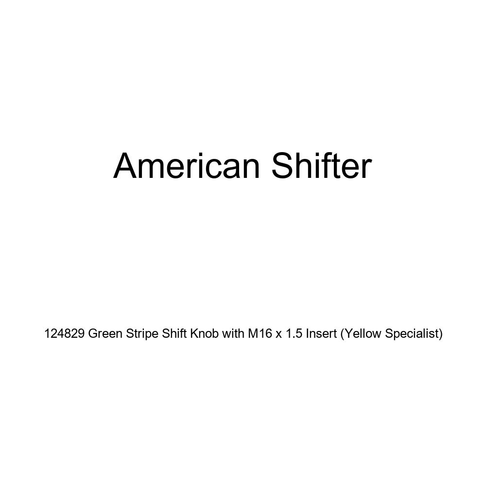 American Shifter 124829 Green Stripe Shift Knob with M16 x 1.5 Insert Yellow Specialist