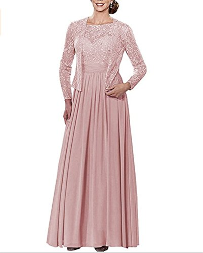 for Length Dresses Pink Bride Neckline Dusty Wedding Floor Jacket Long Lace Scoop Mother Chiffon A Line The with of Sleeves qWFa1X