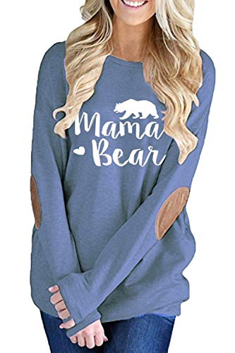 ALBIZIA Women's Long Sleeve Crew Neck Mama Bear Elbow Patch T Shirt Top (S, Light Blue) Bear Womens Light T-shirt