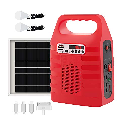 Portable Solar Generator,Portable Solar Generator with Solar Panel,Solar Power Generator Kit,Camping Fishing Emergency Electric Generator,Solar Powered Charger,Lithium Battery Backup Power(Red)