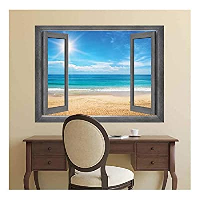 Open Window Creative Wall Decor View of The Ocean and The Sun at It's Highest Point Wall Mural, Quality Artwork, Dazzling Picture