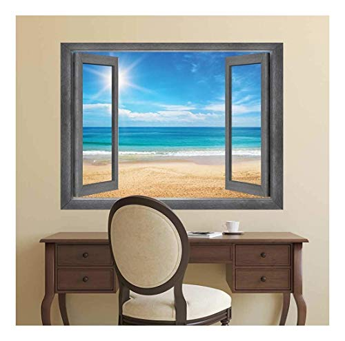 (wall26 - Open Window Creative Wall Decor - View of The Ocean and The Sun at It's Highest Point - Wall Mural, Removable Sticker, Home Decor - 36x48 inches)