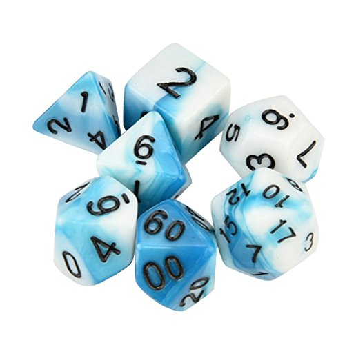 - Fullfun 7pcs/Set TRPG Table Game Polyhedral D4-D20 Acrylic Dice (G)