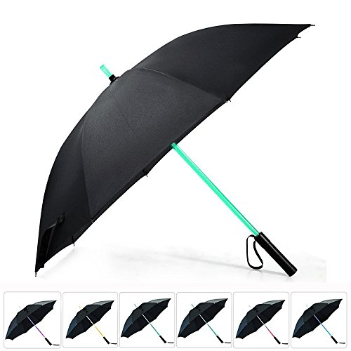 artSew Lightsaber Umbrella FlashLight in the Easy Grip Handle Golf Umbrellas Sword Light up Changing on the Shaft Built in Torch at Bottom (Black)