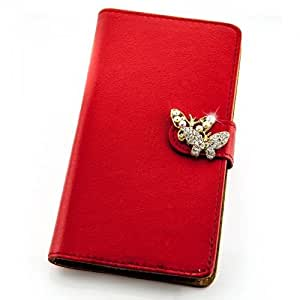 Portatil Style Design–Funda con función atril y diseño de diamantes de imitación (Butterflies) Flip Cover Funda Carcasa Funda Case Modern Bag para Huawei Ascend P7en Rojo