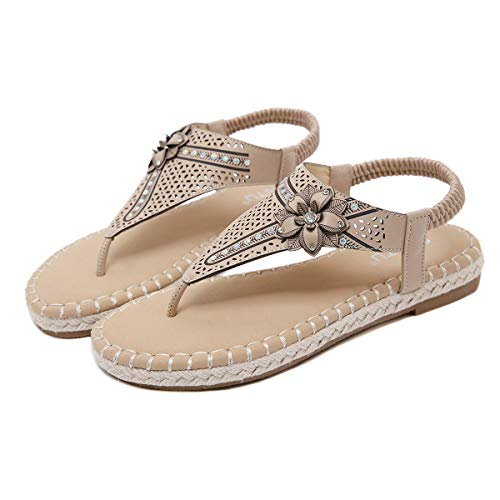 - Bohemian Sandals for Women,YuhooSUN Rhinestone Flower Crystal Elastic Strappy String Beach Roman Sandals Shoes Beige