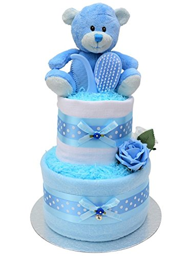 Cute Blue 2 Tier New Baby Boys Nappy Cake Baby Shower Gift - Free UK Delivery! Packaged to Perfection blu01