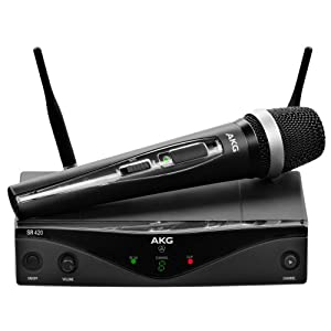 AKG Pro Audio WMS420 Vocal Set Band A Wireless Microphone System with SR420 Stationary Receiver, and HT420 Handheld Transmitter