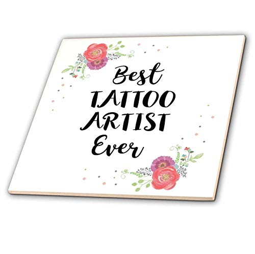 3dRose InspirationzStore - Love Series - Floral Best Tattoo Artist Ever watercolor pink flowers tattooist gift - 8 Inch Ceramic Tile (ct_317290_3)