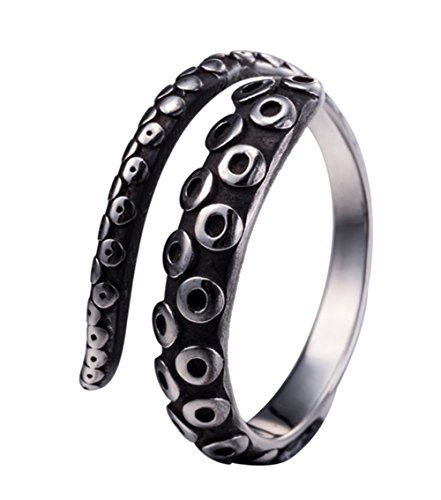 Amkaka Vintage 316L Stainless Steel Octopus Tentacle Adjustable Ring Black Silver