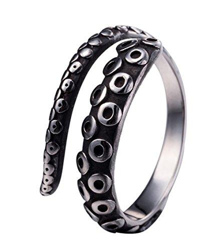 Amkaka Vintage 316L Stainless Steel Octopus Tentacle Adjustable Ring Black Silver -