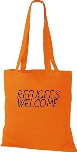 ShirtInStyle Bolso de mano Bolsa de algodón Refugiados welcome, refugiados, Mantente a la derecha, murió. Colores - fucsia Naranja