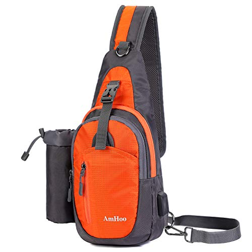 AmHoo Sling Backpack Chest Shoudler Crossbody Bag Waterproof Hiking Daypack for Women and Man with Water Bottle Holder and USB Charging Port- Orange