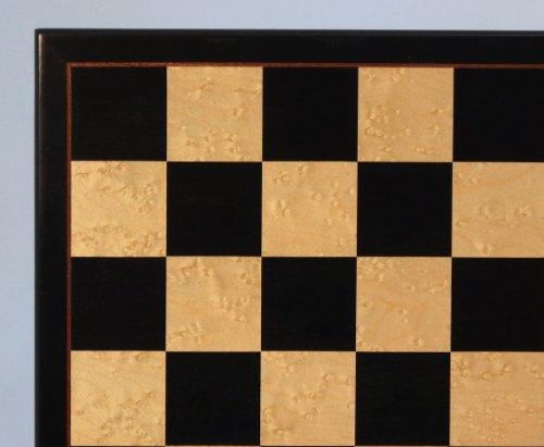 17 in. Black & Birdseye Maple Veneer Chess Board