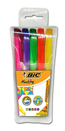 Marcador de Texto em Cores Fluorescentes - Amarelo, Roxo, Rosa, Laranja e Verde - Estojo com 5 unidades
