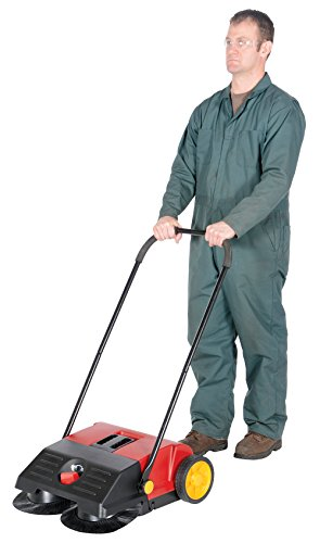 Vestil JAN-SM Manual Push Floor Sweeper with Steel Handle, 21-1/4'' Head Width, 24'' Overall Length, Black and Red by Vestil (Image #3)