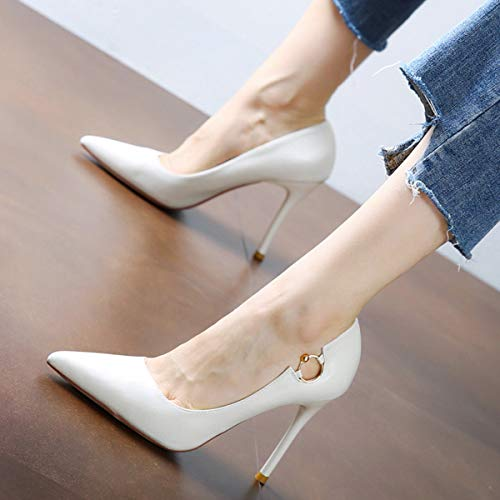 Heel Elegant Ring Metal Ladies Stiletto High Commuter Pointed Yukun Beige Shoes Beige Professional High heels zqzv8ET