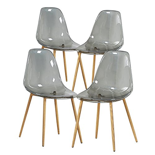 Green Forest Acrylic Dining Side Chairs Transparent Clear Smoky Seat with Strong Metal Legs, Set of 4 Eames Plastic Side Chair