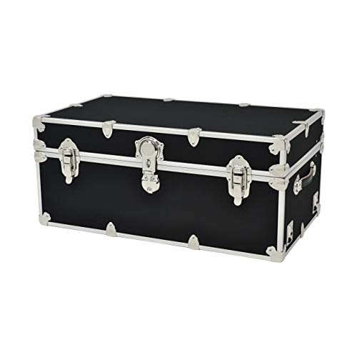 18 Oz Black Vinyl Polyester - Summer Camp Trunk & College Dorm Trunks with Wheels - Rhino Sticker Trunk - X-Large - 34