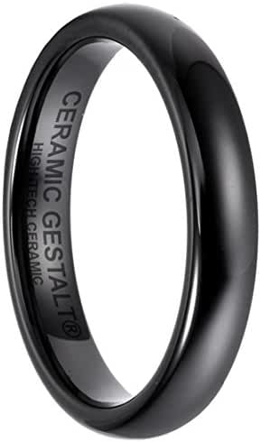 Black Ceramic Ring by CERAMIC GESTALT® - 4mm . Domed & Polished Design. (Size 5 to 14).