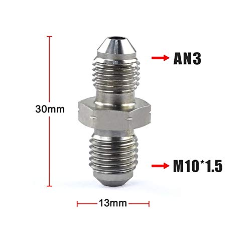 M10x1.5 BEESCLOVER WLR Racing AN3 Male 3//8x24 UNF to M10x1.25 M10x1.0 Male Bubble Flare Stainless Steel Brake Fittings Adapter AN3 M10X1.5