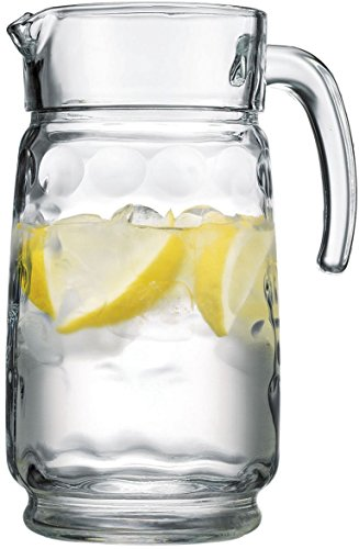 Palais Glassware Cercle Collection; Clear Glass Set with Circle Design (64 Oz Pitcher, Clear)