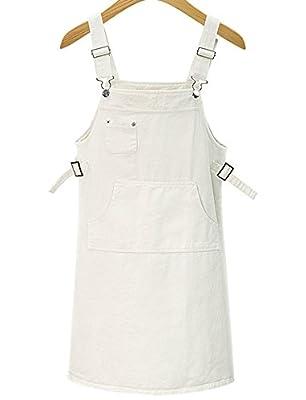 Luodemiss Women's Solid Summer Cute Bib Jeans Shortall Skirt Denim Overall Dress